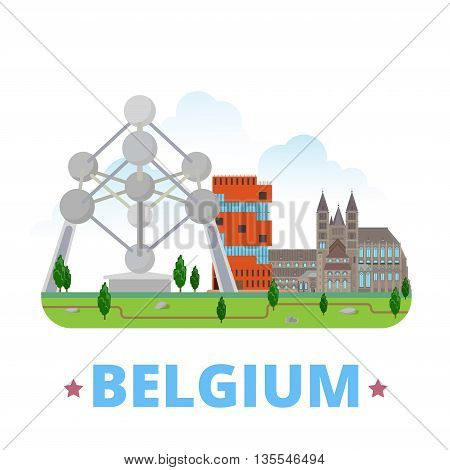 Belgium country design Flat cartoon style web site vector