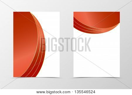 Flyer template design in red color . Abstract flyer template with gold lines. Wavy flyer design. Vector illustration