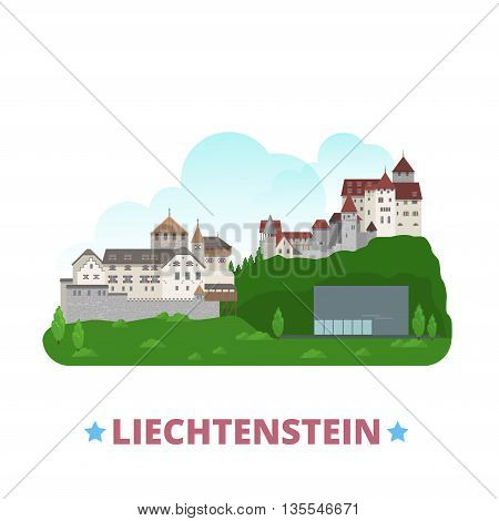 Liechtenstein country design template Flat cartoon style vector