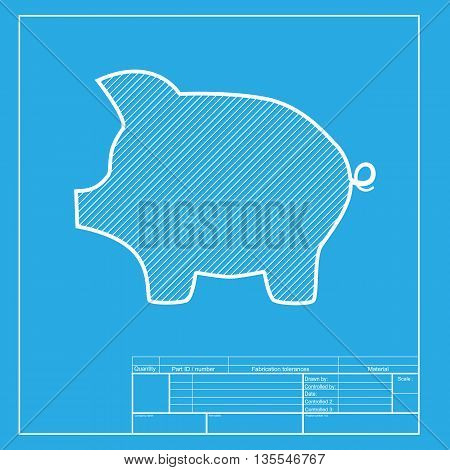 Pig money bank sign. White section of icon on blueprint template.