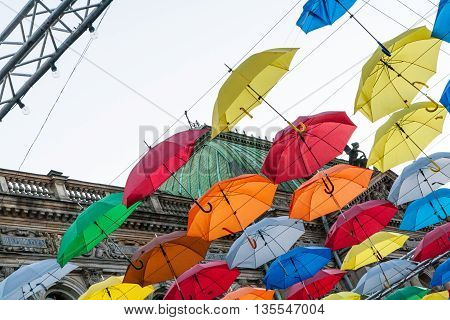 Colored umbrellas floating in the salt Lane St. Petersburg
