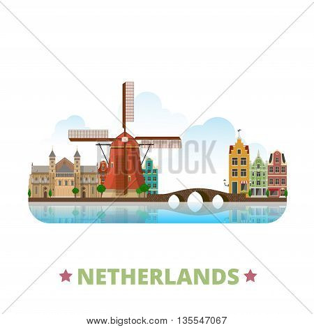 Netherlands country design template Flat cartoon style vector