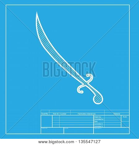 Sword sign illustration. White section of icon on blueprint template.