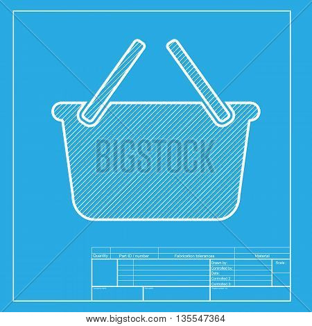 Shopping basket sign. White section of icon on blueprint template.