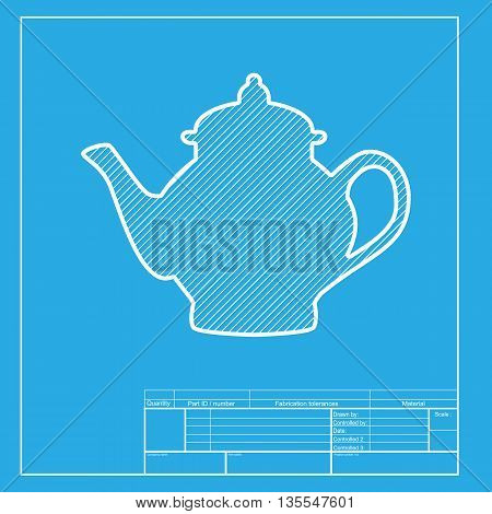 Tea maker sign. White section of icon on blueprint template.