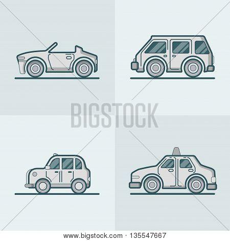 Convertible cabriolet cabrio Linear stroke outline flat vector
