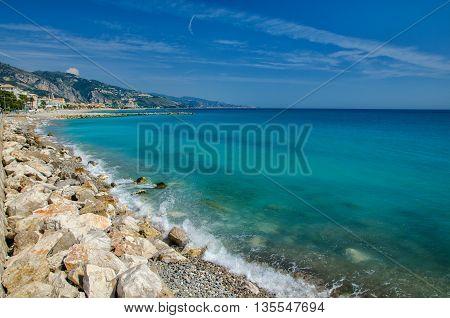 Panoramic view of Mediterranean sea on Cote d'Azur coast