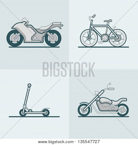 Motorbike scooter transport Linear stroke outline flat vector