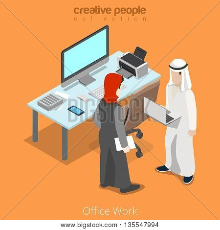 Isometric arabic islamic business office work vector place