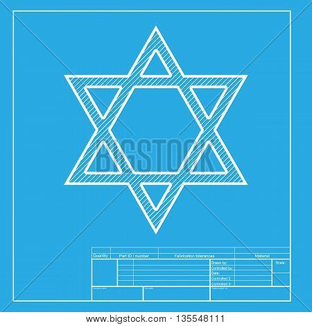 Shield Magen David Star. Symbol of Israel. White section of icon on blueprint template.