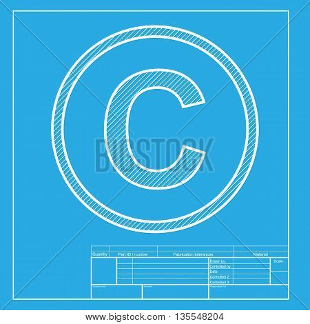 Copyright sign illustration. White section of icon on blueprint template.