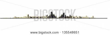 3D City Concept Frontal View