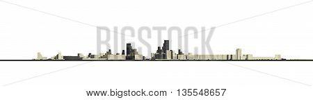 3D City Concept Back View