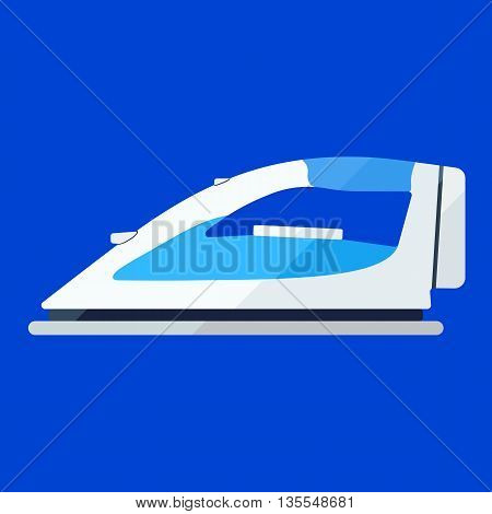 Iron white flat icon. Appliance for housekeeping