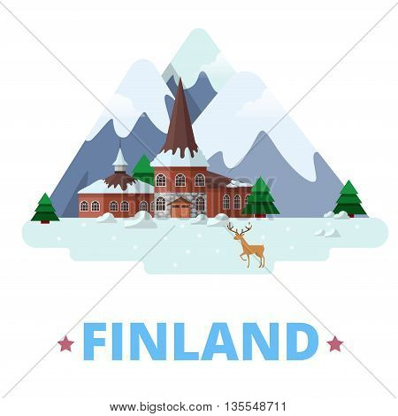 Finland country design template Flat cartoon style web vector