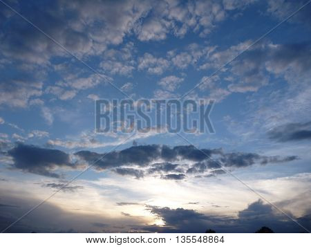 Dramatic Evening Sky With Beautiful Clouds