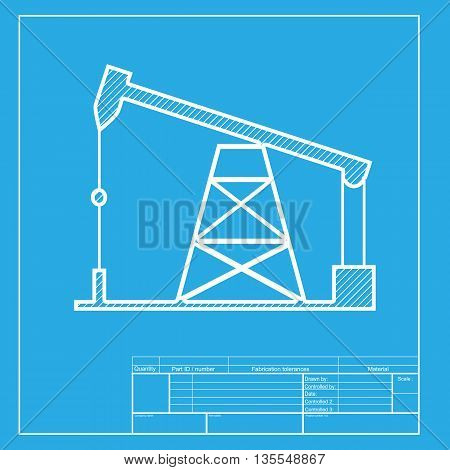 Oil drilling rig sign. White section of icon on blueprint template.