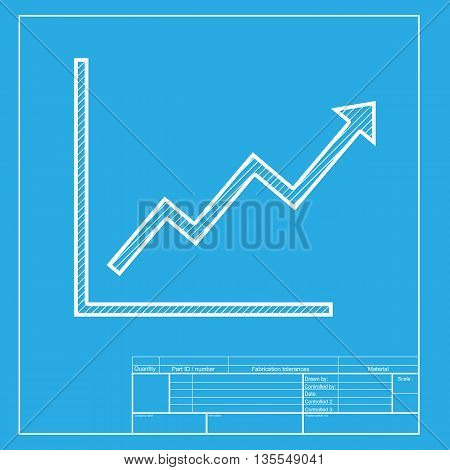 Growing bars graphic sign. White section of icon on blueprint template.