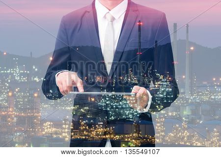 Double Exposure With Businessman Touch On Tablet
