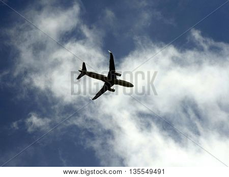 passenger jet plane flying in the sky