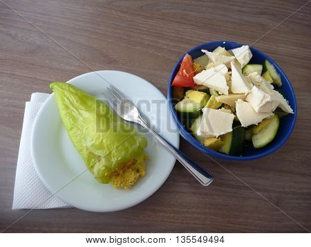 Baked Filled Green Pepper With Vegetable Salad