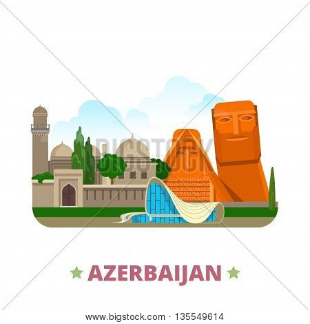 Azerbaijan country design template Flat cartoon style web vector