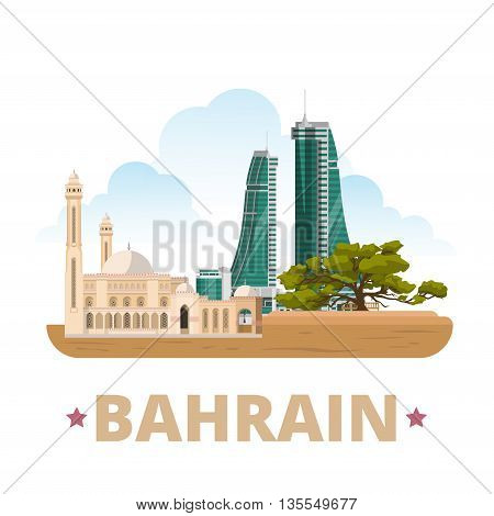 Bahrain country design template Flat cartoon style web vector