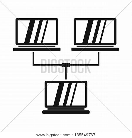 Exchange of data between computers icon in simple style isolated on white background