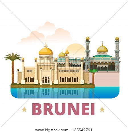 Brunei country design template Flat cartoon style web vector