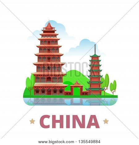 China country design template Flat cartoon style web vector