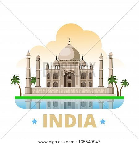 India country design template Flat cartoon style web vector