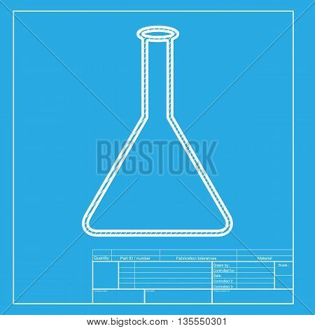 Conical Flask sign. White section of icon on blueprint template.