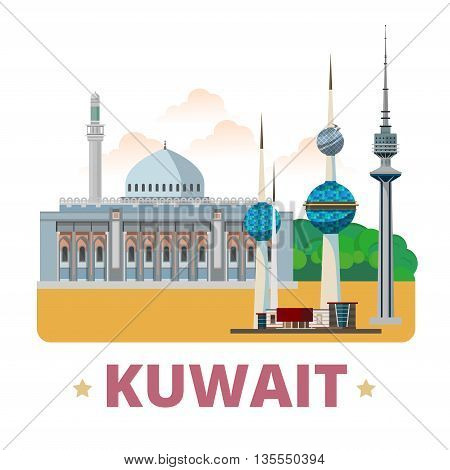 Kuwait country design template Flat cartoon style web vector