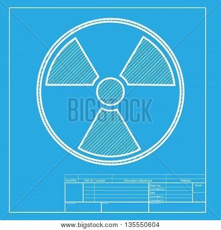 Radiation Round sign. White section of icon on blueprint template.