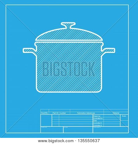 Cooking pan sign. White section of icon on blueprint template.