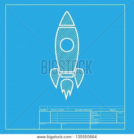 Rocket sign illustration. White section of icon on blueprint template.