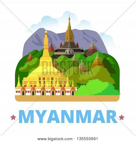 Myanmar country design template Flat cartoon style web vector