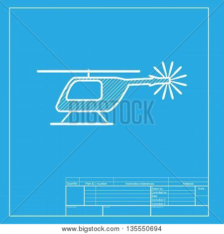 Helicopter sign illustration. White section of icon on blueprint template.