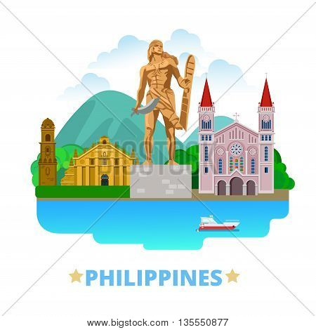 Philippines country design template Flat cartoon style web vector