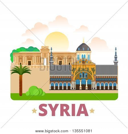 Syria country design template Flat cartoon style web vector