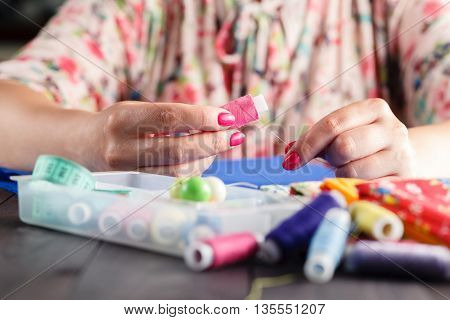 Woman Getting Ready To Sew