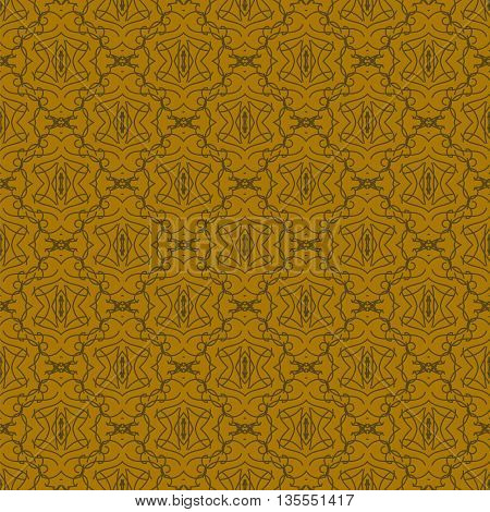 Seamless Texture on Brown. Element for Design. Ornamental Backdrop. Pattern Fill. Ornate Damascus Decor for Wallpaper. Traditional Decor on Background