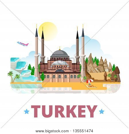 Turkey country design template Flat cartoon style web vector