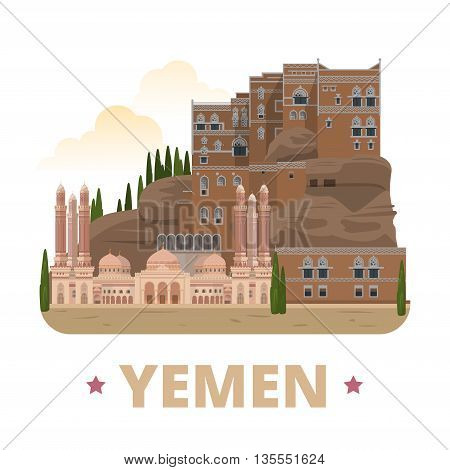 Yemen country design template Flat cartoon style web vector