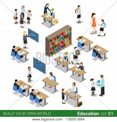 Isometric flat 3d school building teacher vector illustration.