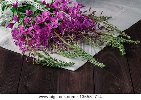 Fireweed Flowers Fresh On A Wooden Boards Background