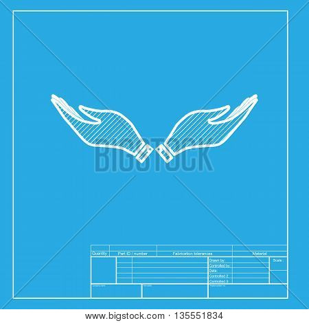 Hand sign illustration. White section of icon on blueprint template.