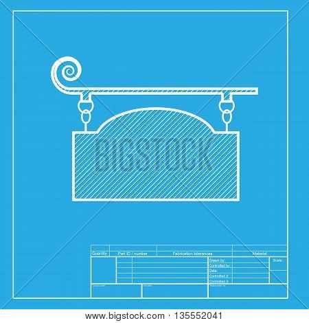 Wrought iron sign for old-fashioned design. White section of icon on blueprint template.
