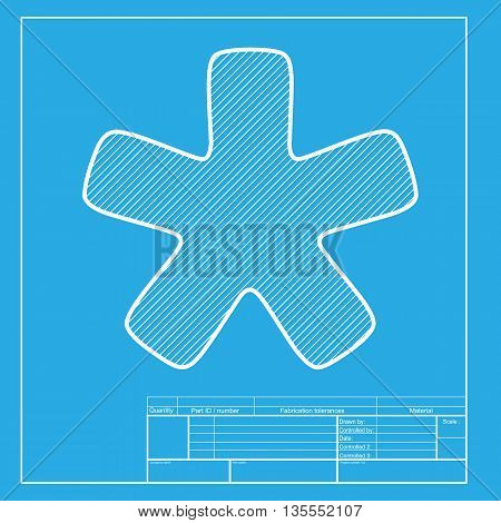 Asterisk star sign. White section of icon on blueprint template.