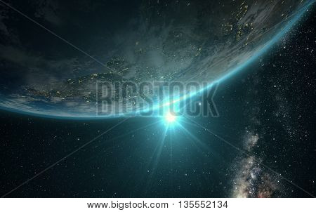sunrise view of earth from space with milky way galaxy
